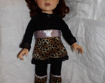 Stylish Leopard print & black top and pant set for 18 inch dolls - ag282