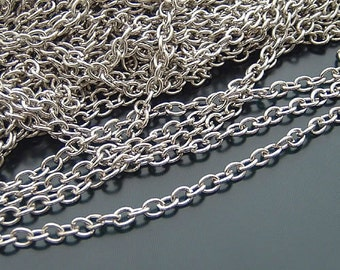 10meter (33ft) Bulk Antiqued Silver Tone  Metal Necklace Chain 3x2.5mm C11