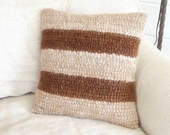 Striped Geometric Chunky Alpaca Hand Hooked Pillow