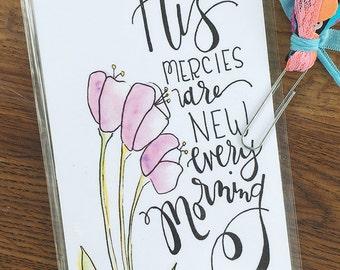 Midori Dashboard with Pocket Original Watercolor Art Print - Mercies Are New