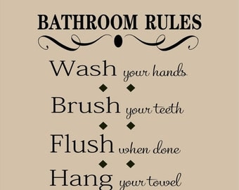 15% OFF Bathroom Rules - Vinyl Lettering wall words graphics  decals  Art Home decor itswritteninvinyl