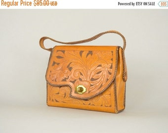 SUMMER SALE 50's Tooled Leather Handbag