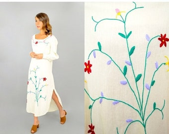 SUMMER SALE 70's Embroidered FLORAL Gauze Dress
