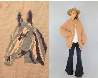 WINTER SALE RARE • 50's Horse Cowichan Jacket
