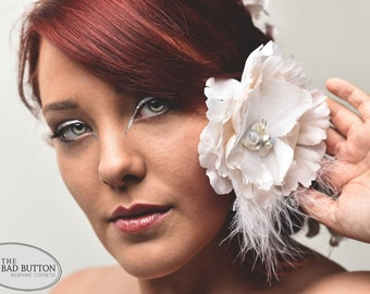 Floral Bridal Fascinator - Lace, Silk, Pearls, Silver - Shabby Chic