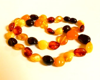 "Baltic Amber Jewelry Multicolor Necklace Natural Beads 18"" 15.4 gram"