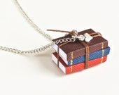 Miniature Book Necklace- Set of 3 Mini Books for the Book Lover, Bookworm, Loves to Read, Mini Heart Charm