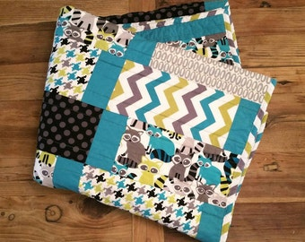 Ready To Ship! Baby Boy Crib/Toddler Bed Quilt, Michael Miller's Ricky Raccoon & Lagoon fabrics w/ Grey Minky. Baby Bedding. Nursery Decor