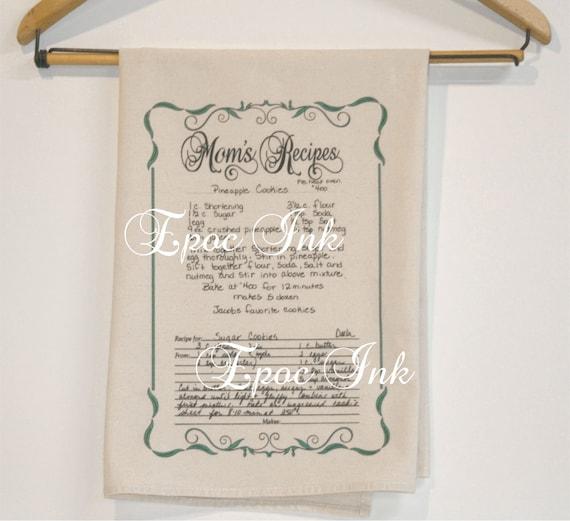 Tea Towels Printed For Schools: Your Handwritten Recipe Printed On A Tea Towel Custom Recipe