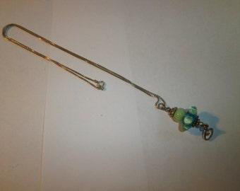 Vintage Necklace, 925 Sterling Box Chain Necklace, Jeanie Bottle Globe, Pendant Sterling