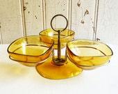 Vereco France Amber Glass Three Bowl Relish Dish - Goldtone Stand - Mid-Century 1960s - Vintage Snack Dish - Vintage Condiment Set