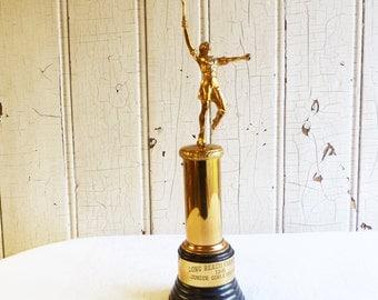 Vintage Ladies' Tennis Trophy - Long Beach Junior Girls Champion  - Black Brown Bakelite Base - 1941