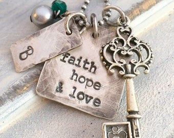 Faith Hope & Love hand stamped rustic key charm necklace with initial and birthstone charms