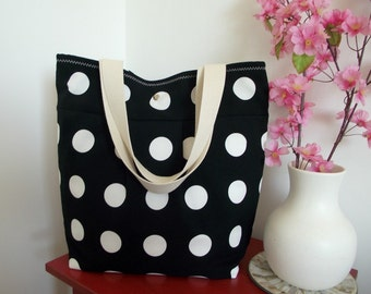 Tote Beach Bag Polkadots Large Beach Bag BLACK AND WHITE Ikea Polka Bag Shoulder Bag Preppy Fashion Bags Summer Tote