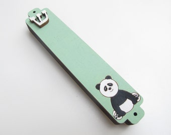 Kids mezuzah green mint panda bear mezuzah case, jewish mezuzah, black and white  mezuzah case, children mezuzah, jewish gift