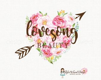 beauty shop logo make up artist logo photography logo wedding logo design event planner logo watercolor peony logo rustic logo design