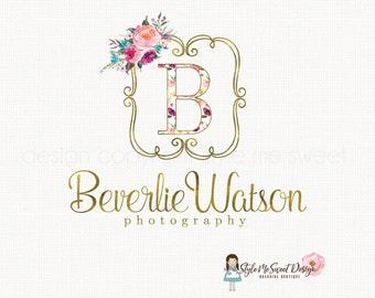 Monogram Logo Premade Logo Design Floral Logo Design Elegant Floral Logo Wedding Logo Photography Logo Events Logo Gold Text Logo Watermark