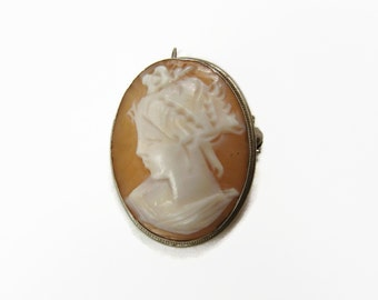 Cameo Pendant, 800 Silver, Carved Shell, Cameo Brooch, Vintage Jewelry, Cameo Pin, Estate Jewelry, Lady Cameo, Hand Carved, Pendant, Brooch