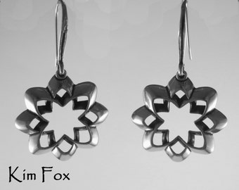 Desert Flower Earrings in silver with silver wires by Kim Fox