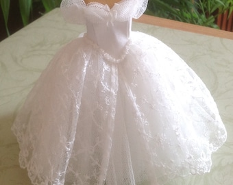 Handmade beautiful miniature dollhouse ivory silk, lace and tulle 1/12th scale dress