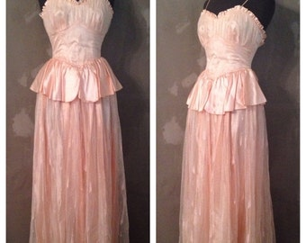 70% OFF Vintage 1970s 1980s Candi Jones Peach Formal Peplum Prom Dress S/M (k)