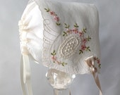 Handkerchief Baby Bonnet,Hanky Bonnet,Antique Ivory Victorian Style,Swiss cotton,new born to 3 months,ready to ship, Baby's First Bonnet.