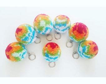 Rainbow Key Ring Pom Pom Key Chain