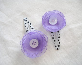 Purple flower organza bobby pins, Hair accessories, Gift for girls, Polka dot bobby pins, Floral bobby pins, Hair clips, Fabric hair flowers