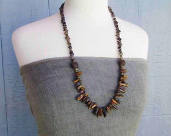 On Sale - Long Brown Beaded Necklace: Natural Tiger Eye Stone, Smoky Quartz Bronze Brass Boho Chic Bohemian Rustic Chunky Statement Necklace