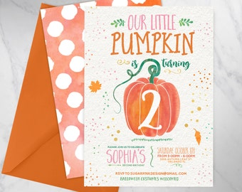 Pumpkin Patch Birthday | Pumpkin Birthday Invitation | Our Little Pumpkin Birthday Invite | Fall Birthday Invitation | DIGITAL FILE ONLY