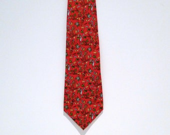 Salvatore Ferragamo Tie Vintage Red Renaissance Sword Fighting necktie Bananas Pineapples silk tie Made In Italy Designer Blue Flowers