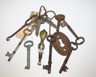 Vintage Skeleton & LockBox  Keys for Steampunk Found Object Jewelry Altered Art