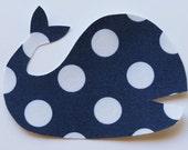 Iron On Whale Applique Navy Blue Polka Dot Sew On