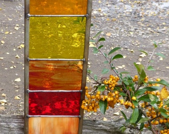 Stained Glass Garden Ornament Architectural Panel Small in Sunshine Colours MTO