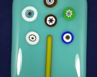 Fused Glass Magnet with Italian Millefiori on Turquoise