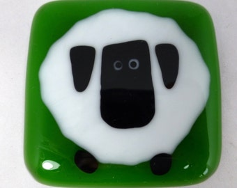 Fused Glass Sheep Magnet for Sheep Lovers