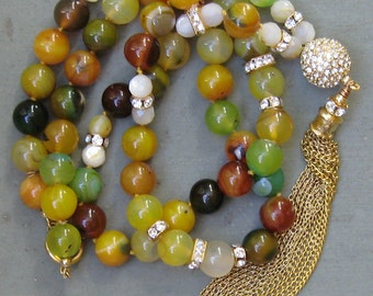 Blingy Multi Color Agate Tassel Necklace - SWAROVSKI / GOLD