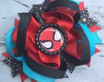 NEW ITEM Boutique Baby Girls Layered Spiderman Hair Bow Spoderman Hair Clip Spiderman Birthday Super Hero Hair Bow Spiderman