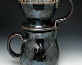 Skull Coffee Pour Over Filter Set, Gothic Skulls Pour Over Coffee Maker and Pitcher Set in Metallic Bronze