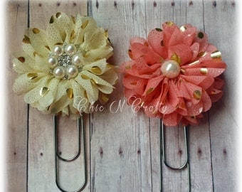 Set of 4 Fabric Flower Paperclip -  Jumbo Paperclip - Bookmark