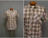 1970s Sears Green Plaid Shirt