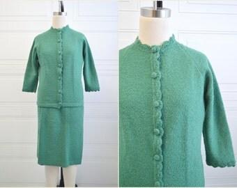 1960s Boucle Knit Skirt Suit