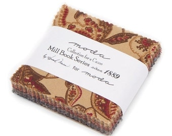 WINTER SALE Moda Fabric Collection Cause Howard Marcus Mill Book Circa 1889 Mini Charm Pack 2 Packs