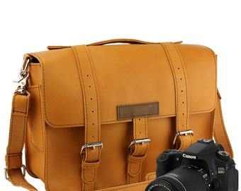 "15"" Grizzly Tan Sonoma Buckhorn Leather Camera Bag - 15-BUC-GRZ-LCAM"