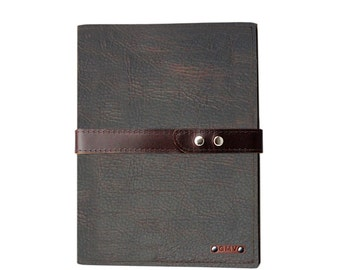 Executive Padfolio in Chocolate Grizzly Leather with Chocolate Latigo Strap Made in the U.S.A. - EX-GZCHBSTRP-PDF