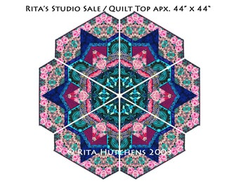 STUDIO SALE / Quilt Top /  Tubular Strip Pieced Kaleidoscope
