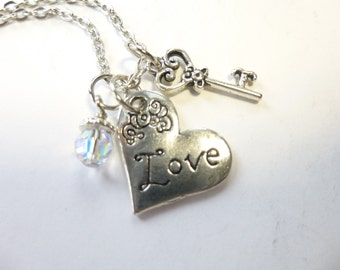 Valentine gift Heart Necklace with Charms Love Necklace Love Heart Necklace w/ key and crystal charms on 18 inch chain Antique silver