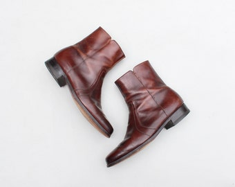 vintage 70s men's Florsheim ankle boots - chestnut brown beatnik boots / Rockabilly boots - 1970s hipster boots / marked men's 11 E