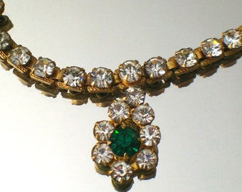 Vintage Irish Wedding Rhinestone Necklace Green Crystal Rare Beauty