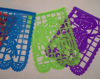 """Medium Day of the Dead VERTICAL Papel Picado, 10 Banners, 14"""" by 9"""" Each Banner"""